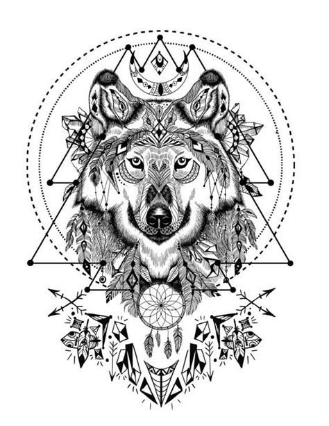 Boho Wolf with Sacred Geometry - Adult Coloring Book Page