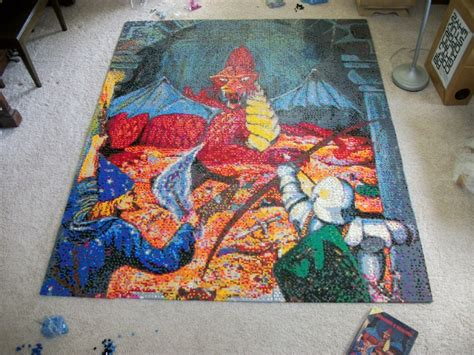 giant lego mosaic  dungeons dragons book cover