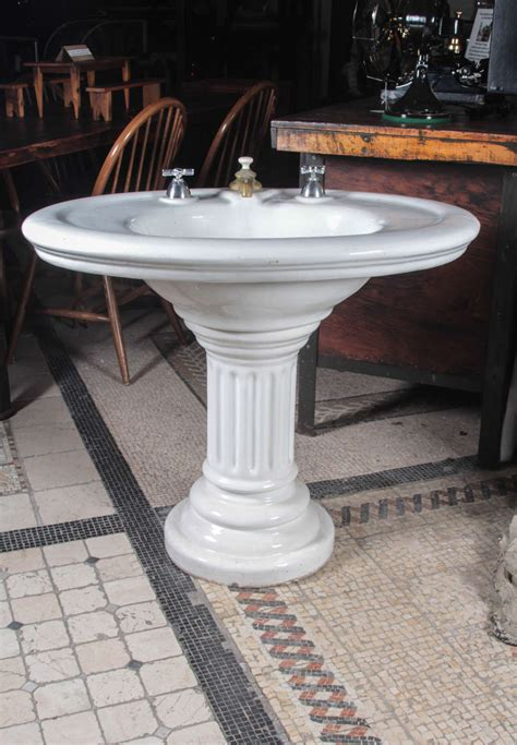 wide base pedestal sink oval earthenware sink from the 1800s at 1stdibs