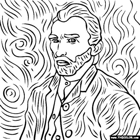 coloring page  vincent van gogh painting