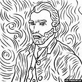 Gogh Van Coloring Vincent Self Portrait Painting Paintings Easy Thecolor sketch template