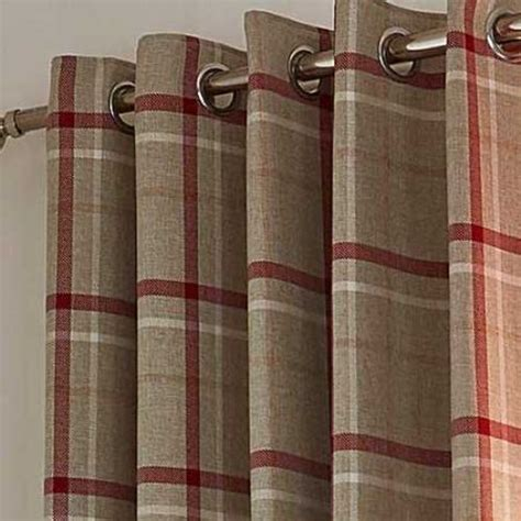 Red   Hudson Woven Check Ring Top Curtains   The Mill Shop