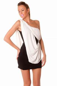 Combinaison Femme Noir Et Blanc : robe fashion noir et blanc crois 2 en 1 tr s chic v tement femme ~ Melissatoandfro.com Idées de Décoration