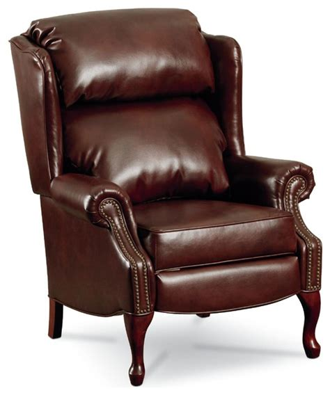 leather wingback recliner chair with nailhead trim
