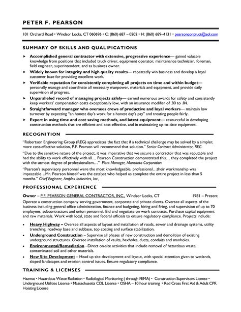 Contract Specialist Resume Exle by Contract Work Resume Sle Templates At