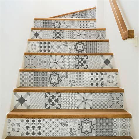 vinyl mural cuisine stickers escalier carrelages nuance de gris romantique x 2 ambiance sticker col stairs ros a924