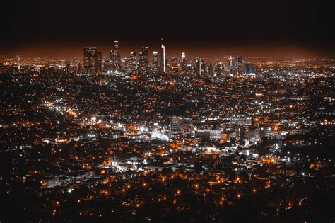wallpaper los angeles usa night city top view hd
