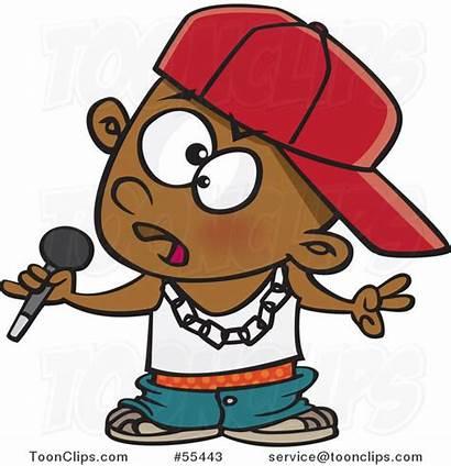 Rapper Microphone Boy Rap Musician Holding Cartoon