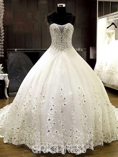 ericdress luxury sweetheart beaded ball gown wedding dress