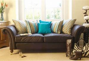 Turquoise On Brown Sofa For My Home Pinterest