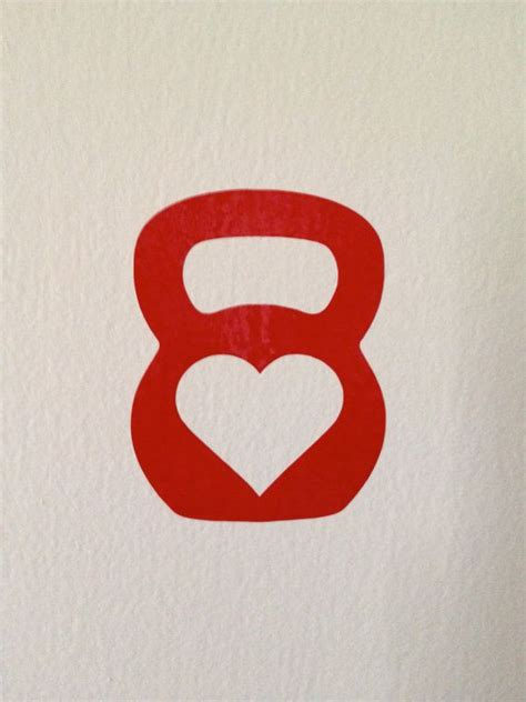 kettlebell crossfit small decal  heart