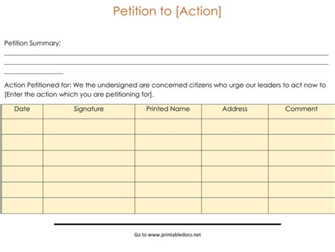 professional petition template  samples