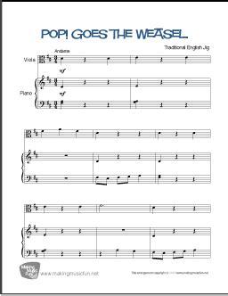 Free viola sheet music scores (pdf). Pop! Goes the Weasel | Beginner Viola Sheet Music
