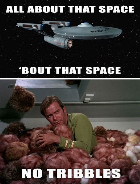 Funny Star Trek Memes - because i m all about that space no tribbles star trek meme all and logs