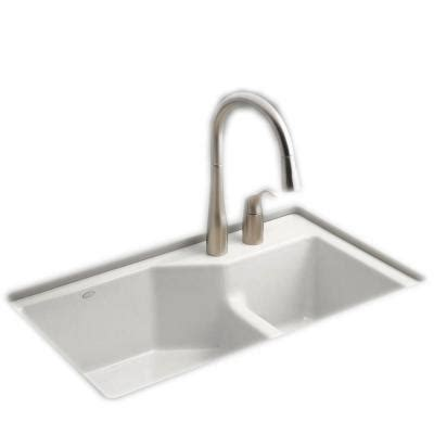 kohler indio smart divide undermount cast iron 33 in 2