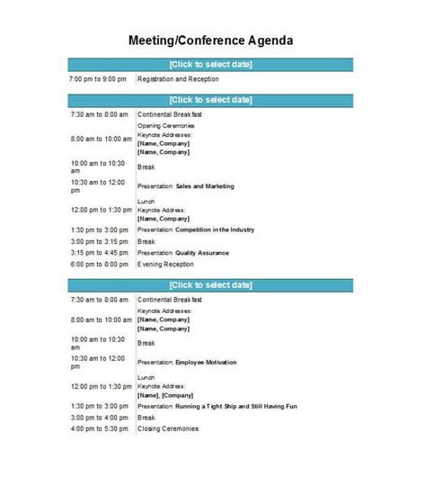 meeting agenda templates word templates