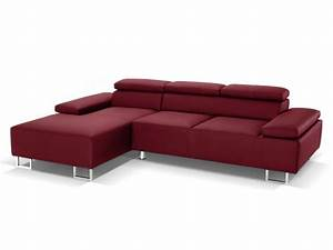 canape d39angle cuir luxe italien rouge angle gauche With tapis rouge avec canape d angle luxe design