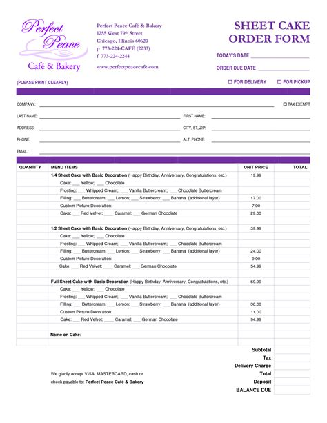 cake order form template 8 best images of sheet cake templates printable cake order form templates free blank cake