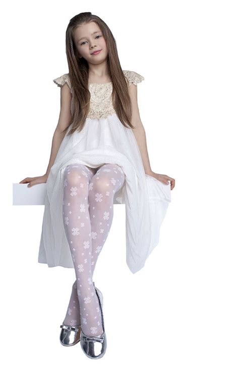 lace toddler dress tights 20 den white hosiery age 5 10