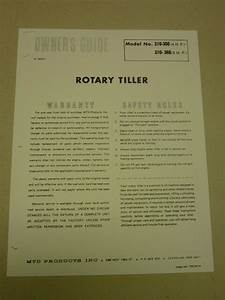 Vintage Mtd Rotary Tiller Owners Manual Parts List Model