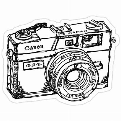 Camera Drawing Canon Cameras Stickers Coloring Pages