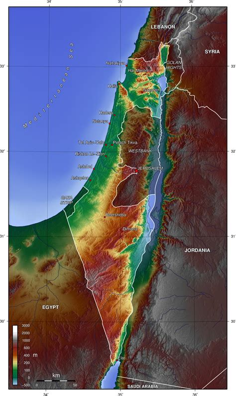 map  israel topographic map worldofmapsnet