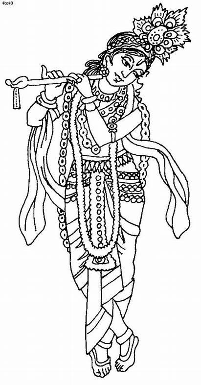 Coloring Krishna Pages Janmashtami Festival Drawing Line