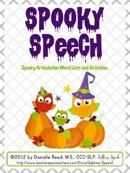 spooky speech halloween articulation word lists
