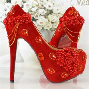 Women39s pumps red color wedding shoes fashion thin heels for Red dress shoes for wedding