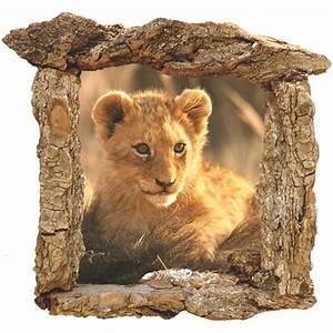 Adhesif Mural En Relief : sticker adhesif mural lionceau et cadre en bois ~ Premium-room.com Idées de Décoration