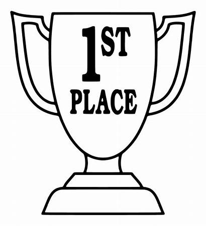 Place Trophy Coloring 1st Ribbon Drawing Pages