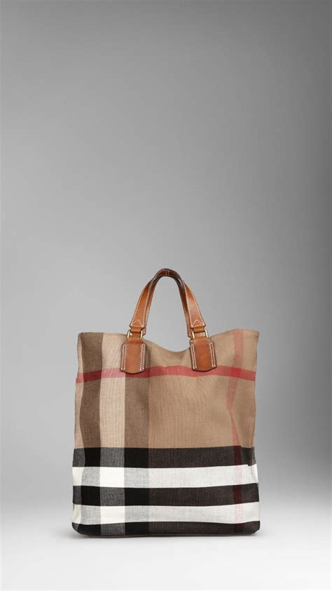 lyst burberry large check canvas tote bag in brown