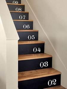 escalier bois et noir chiffres peints sur contremarches With peindre des escalier en bois 3 metamorphoser un escalier poser des contremarches