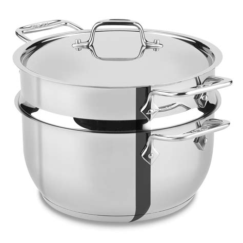 clad stainless steel steaming pot  quart cutlery