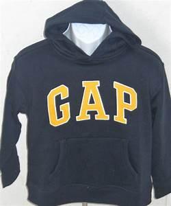 GAP KIDS Boy's Navy Blue Yellow Logo Hoodie Sweatshirt ...