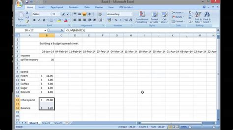 create  simple budget sheet  excel youtube
