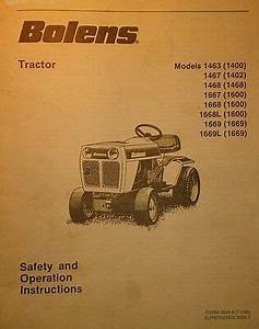 Bolens Lawn Garden Tractor Operators Manual Riding Mower