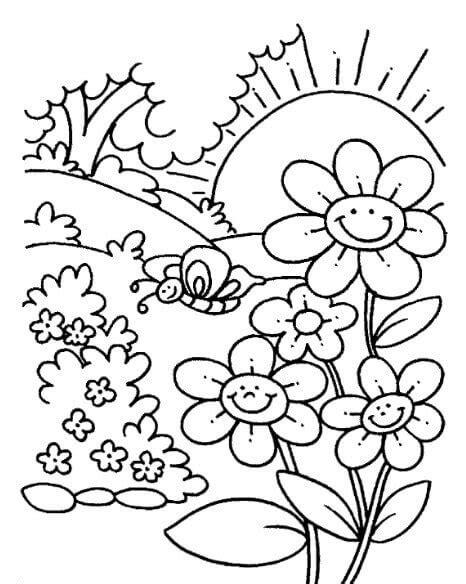 gambar bunga matahari untuk mewarnai