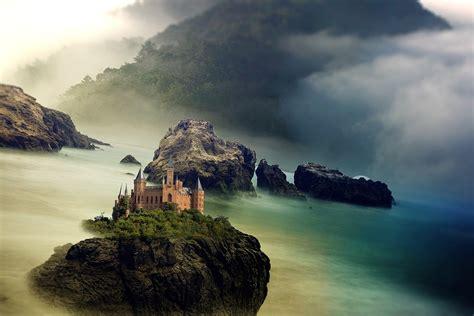 illustration castle sea ocean mountain rock