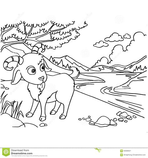 goat coloring pages vector stock vector image  coloring