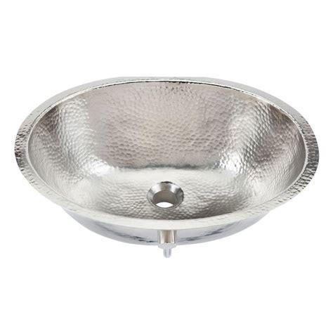 hammered nickel kitchen sink sinkology pavlov 19 1 4 in oval handcrafted bathroom sink 4120
