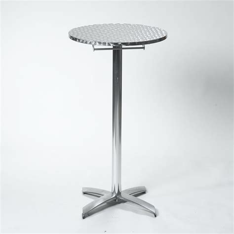 cocktail tables for rent 24 quot round x 30 quot high brushed aluminum cocktail table