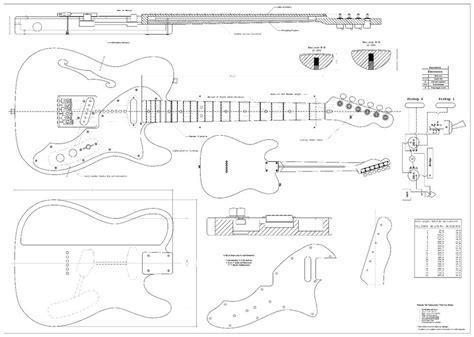 Fender Tele Thinline 69 Electric Guitar Plans Full Scale