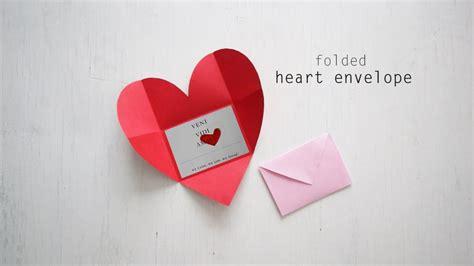 diy folded heart envelope youtube