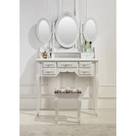 siege coiffeuse coiffeuse blanche avec siège et 3 miroirs achat vente