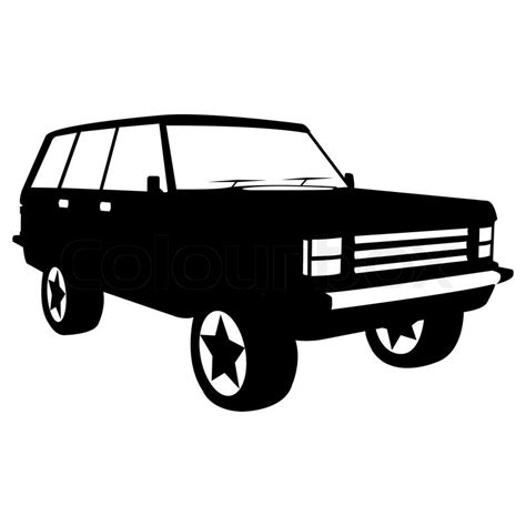 jeep illustration black silhouette of city jeep vector illustration stock