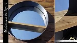 Grand Miroir Industriel : grand miroir rond 80 cm r tro et industriel bois et ~ Melissatoandfro.com Idées de Décoration
