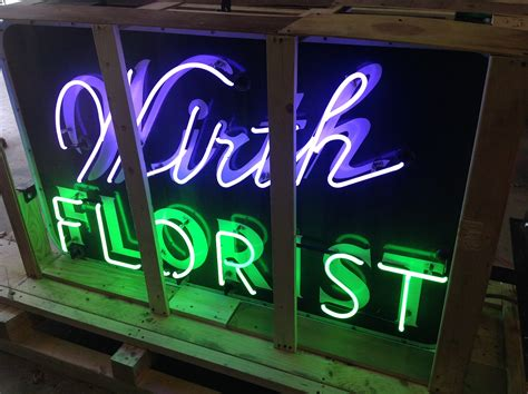 1950's Double Sided Porcelain Flower Shop Neon Sign ...