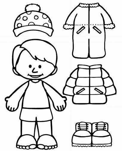Winter Coloring Clothes Clothing Sheet