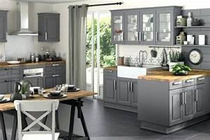 Deco Cuisine Bois : decoration cuisine grise et bois id e de mod le de cuisine ~ Melissatoandfro.com Idées de Décoration
